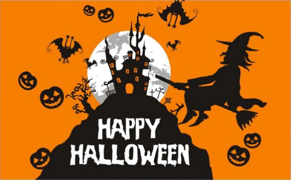 Flag Happy Halloween Witch