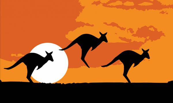 Flag Australia Kangaroo Silhouette