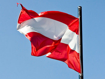 The flag of Austria flies