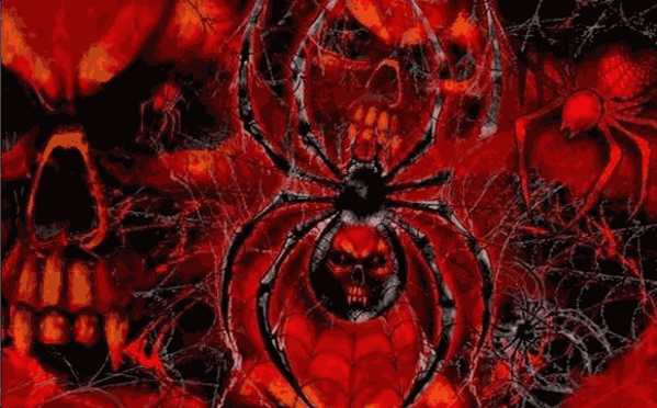 Spider With Red Skulls