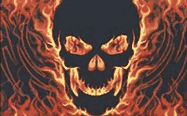 Flag Skull with Fire