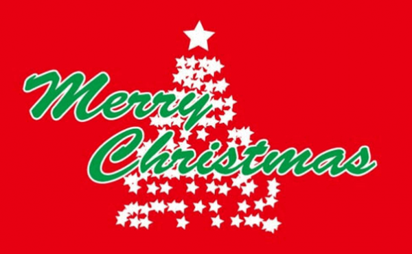 Flag Merry Christmas in Green on Red Background