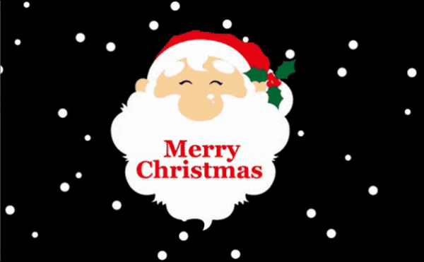 Santa Face On Black Background