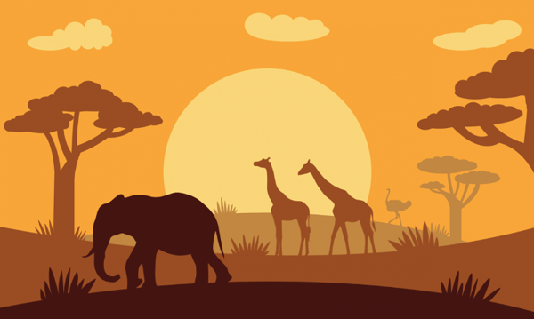 Flag African Animals Silhouette