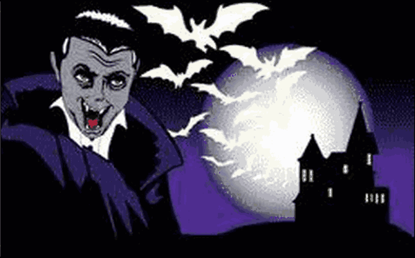 Flag Halloween Vampire Bats and Full Moon