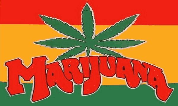 Flag Marijuana on Red Yellow and Green Horizontal stripes