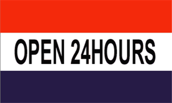 Flag Open 24 Hours Red White Blue