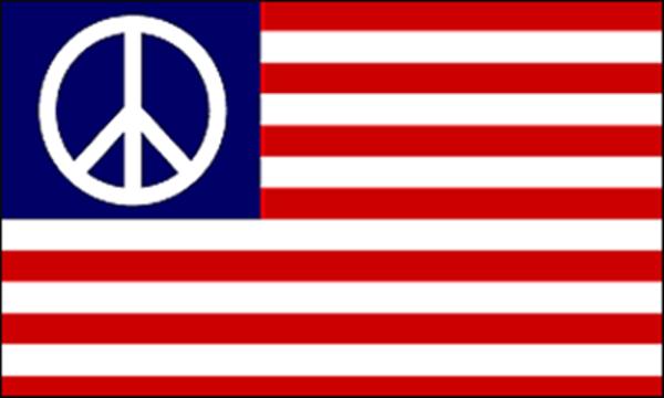 Flag Peace Symbol On Usa Stripes