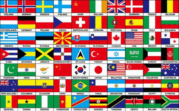 Flag Seventy Nations on one flag