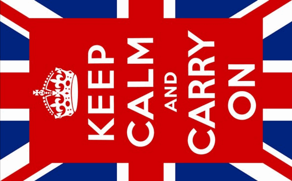 Flag Keep Calm and Carry On centered on Union Jack