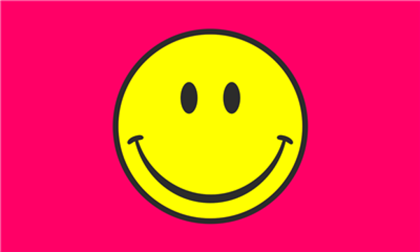 Flag Smiley Face Yellow On Pink