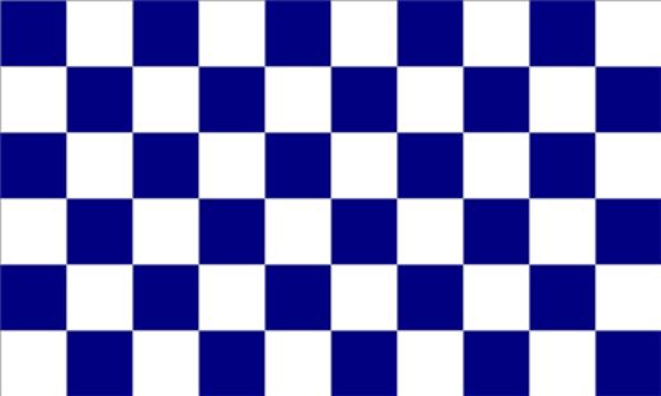 Chequered Blue White