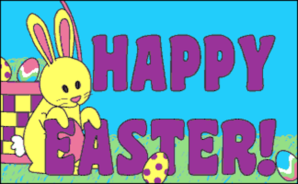 yellow Rabbit alongside the words Happy Easter
