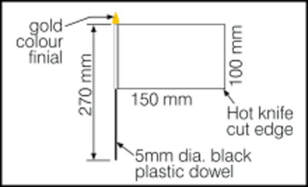 Dimensions for desk flags 150x100mm