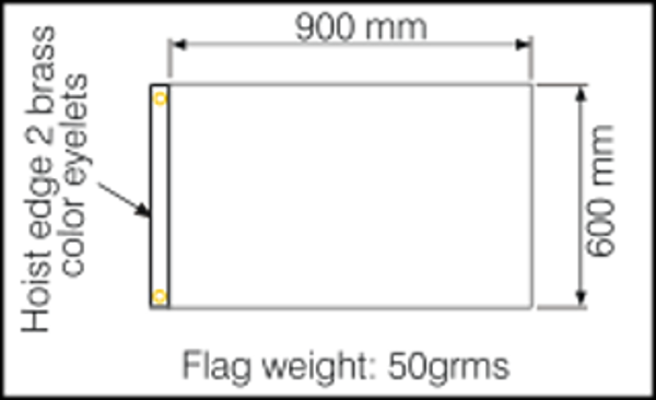 Dimensions for flags 900x600mm
