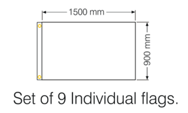 Dimensions for flags 1500x900mm