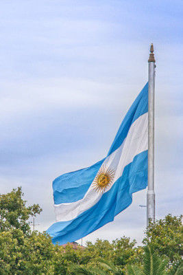The flag of Argentina flying