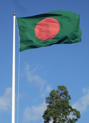 The flag of Bangladesh flying
