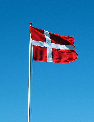 The flag of Denmark flying