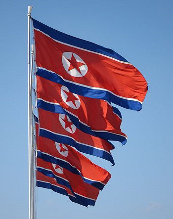 A row of North Korean flags flying