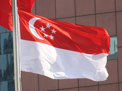 The flag of Singapore flies