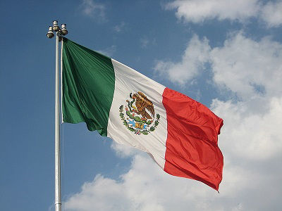 The flag of Mexico flying