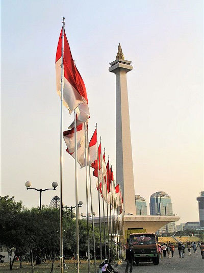 A row of Indonesian flags